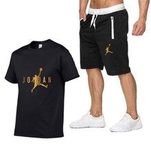 2021 verão conjunto de camiseta masculina 2 peças conjunto de basquete esportes fitness verão impresso manga curta + terno masculino