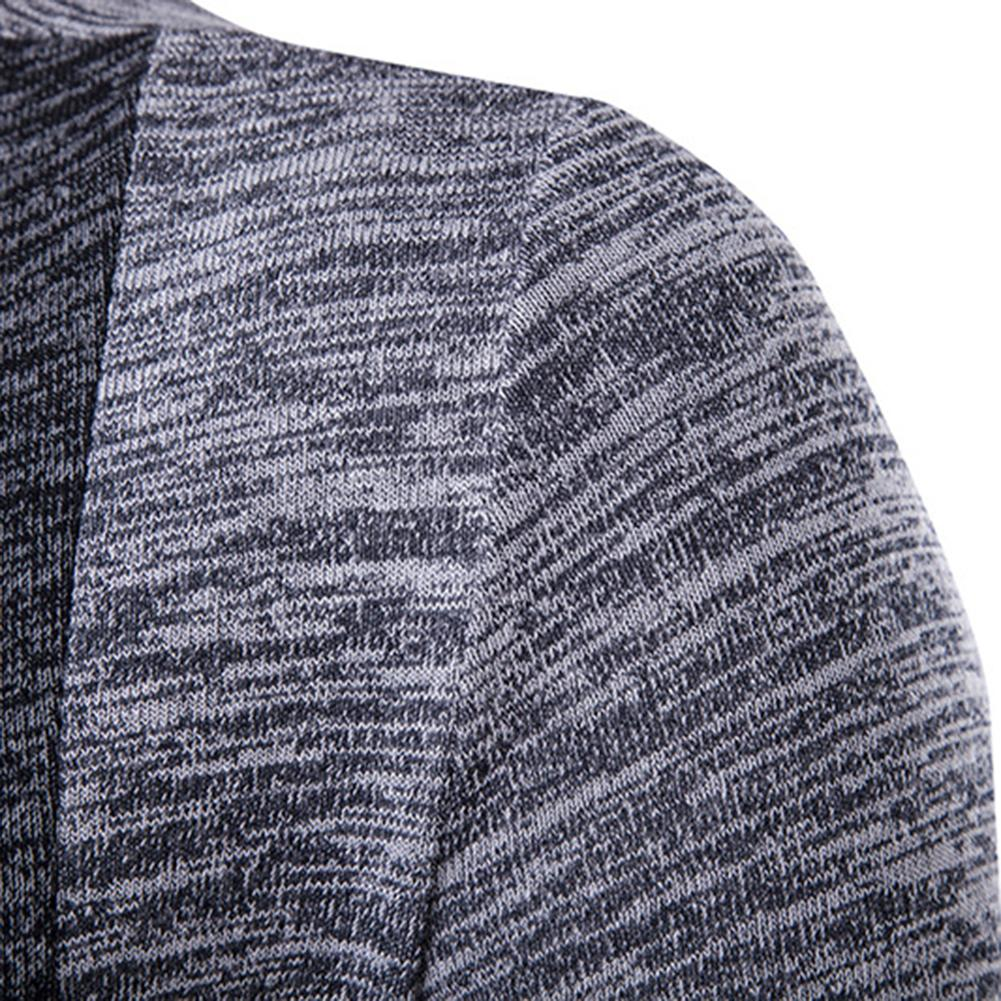 New retro men's sweater men's cardigan stitching contrast color long-sleeved slim-fit sweater jacket outer wear versatile fit 5