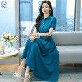 Новинка лета 2021, ацетатное атласное платье, Модное шифоновое темпераментное приталенное платье-юбка средней длины с коротким рукавом, женс...