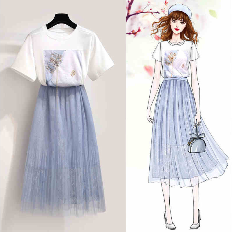 Online Celebrity French Hepburn Set Spring And Summer Playful Fairy Fu Gu Qun Royal Sister CHIC France Non-mainstream Gauze Two