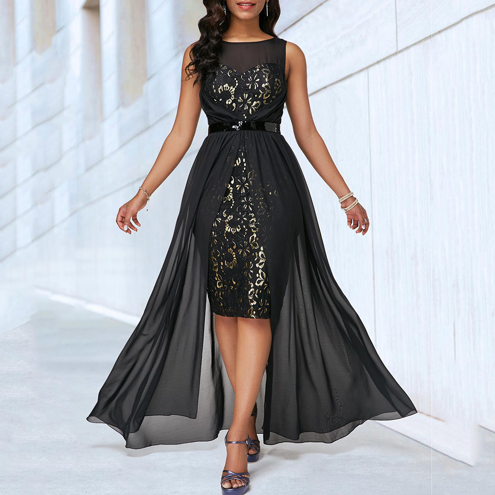 Shiny Bodycon Cocktail Dress Sexy Illusion Mesh Patchwork Club Party Dresses Women African Elegant Black Long Cocktail Dresses