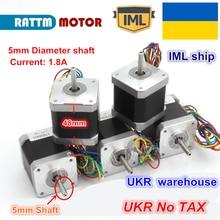 UKR корабль 5 шт. 17HS8401 NEMA17 48 мм длина 78Oz-in чпу шаговый двигатель/1.8A 12-24VDC для ЧПУ 3D принтер