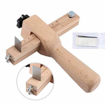 Regulowany pasek ze skóry skrawające Cutter galanterii skórzanej pasek pas DIY ręcznie cięcia drewna wycinacz pasków z 5 ostrza narzędzia skórzane tanie i dobre opinie Kuulee wood