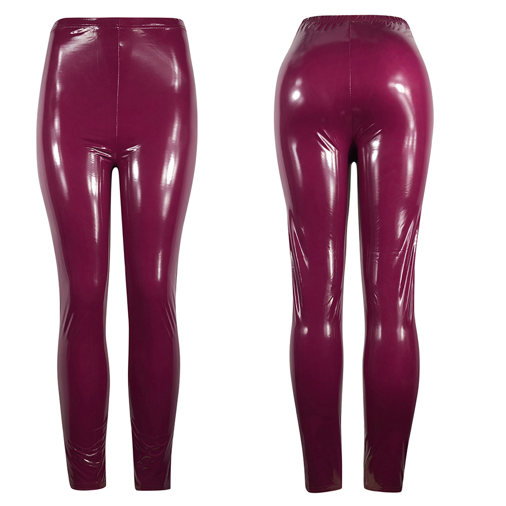 Hot Sexy Women Gothic Leggings Wet Look PU Leather Leggings Black Slim Thin Long Pants Ladies Skinny Leggings Stretchy Plus Size 23