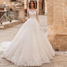 Adoly Mey Ontwerp Prachtige Applicaties Bloemen Kralen A lijn Trouwjurken 2020 Elegant Hals Lange Mouwen Vintage Bruid Gown