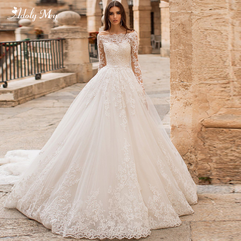 Adoly Mey Romantic Boat Neck Appliques Long Sleeve A-Line Wedding Dress 2020 Luxury Sashes Beaded Court Train Vintage Bride Gown