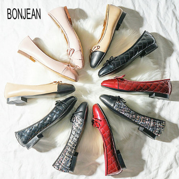 BONJEAN Spring Fashion Ladies Flats Genuine Leather Shallow Shoes For Womens Leather Bow Design Low Heels Casual Women's Shoes