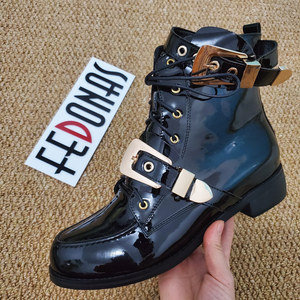 Image 5 - FEDONAS Brand Genuine Leather Golden Buckles Straps Thick Heel Ankle Boots Sexy Autumn Winter Motorcycle Snow Boots Shoes Woman