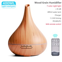400ML USB Elektrische Luftbefeuchter Ätherisches Aroma Öl Diffusor Ultraschall Xiomi Holzmaserung Luftbefeuchter USB Nebel Maker LED Licht
