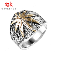 Oktrendy maple leaf mens stainless steel ring hip hop punk style gold color signet ring for rocker mujer 7-13 size mens gold plated egyptian pharaohs eye of horus ra udjat stainless steel ring hip hop jewelry size 7 15