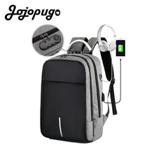 Jojopugo Newest Korean School bags Men Unisex Business Backpack for 15.6inch Laptop Black Back Pack