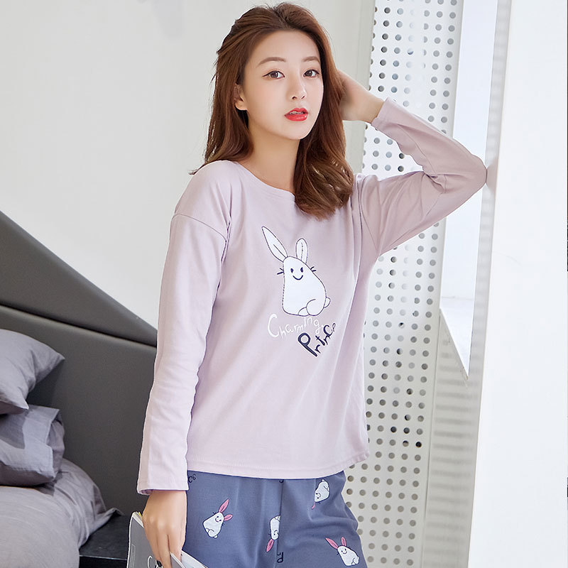 Hot Selling PR Lettered Rabbit Long Sleeve Pajamas Women's Spring And Autumn Women's Tracksuit Cartoon Cute Thick-150 Qmilch