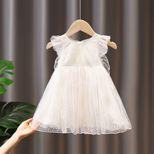 Kid Summer Clothes Baby Girl Evening Dress Fairy Elegant Princess Birthday Cute Short Sleeve Butterfly White Silk Casual Costume