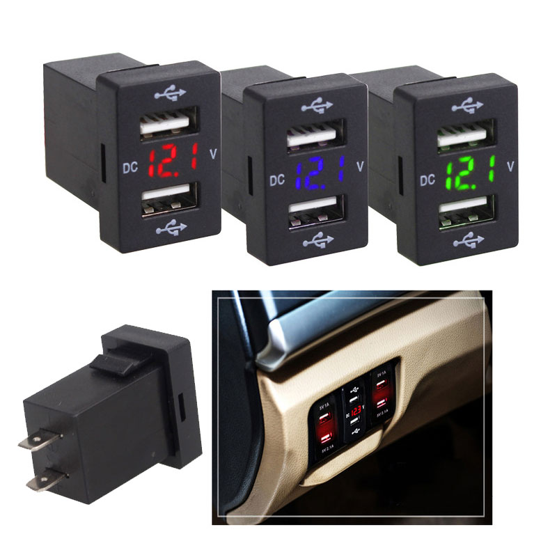 Fast-Charging Car Voltmeter Charger USB ABS Auto Voltage Display Car Phone Charger Practica 3.1A Auto USB Charger