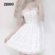 Harajuku laço japonês sexy laço branco vestido feminino ins verão coreano moda simples sólido doce casual feminino cinta vestido