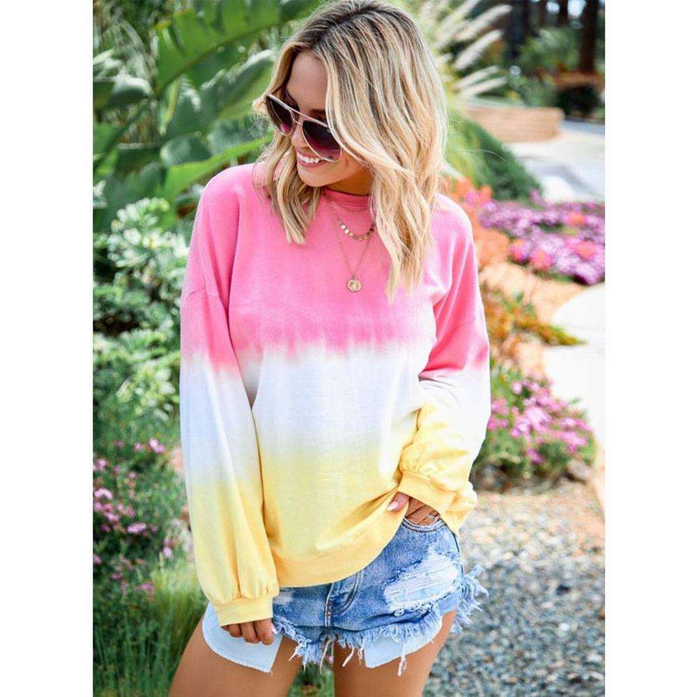 Wipalo 2019 Autumn Plus Size Women Casual Hoodies O-Neck Long Sleeve Pullover Hoodies Gradient Color Rainbow Female Hoodies