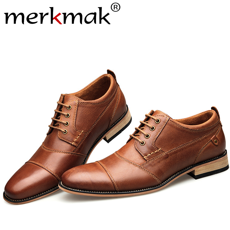 Merkmak Fashion Lace up Oxfords Shoes Business Formal Shoes Handmade Genuine Leather Dress Shoes Big Size