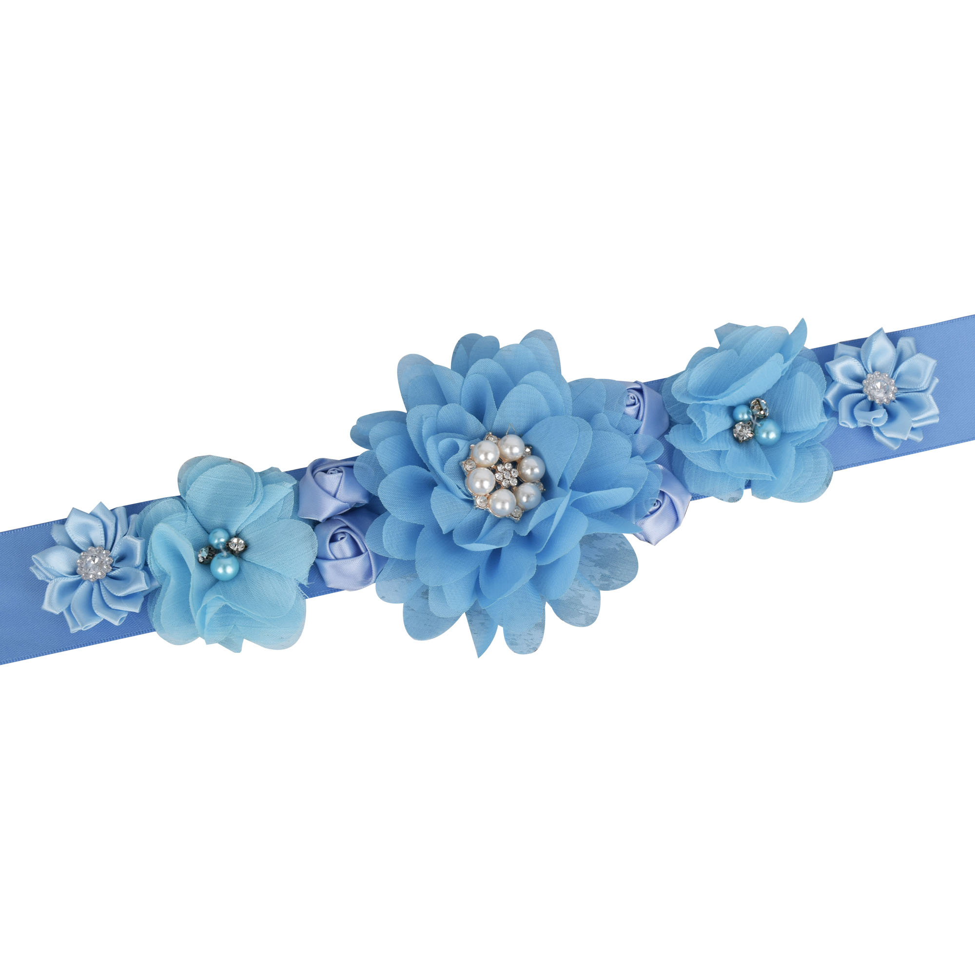 Women Blue Flower Sash Bridal Floral Belly Belt Baby Shower Party Maternity Sash Photo Prop Wedding Sash Accessories