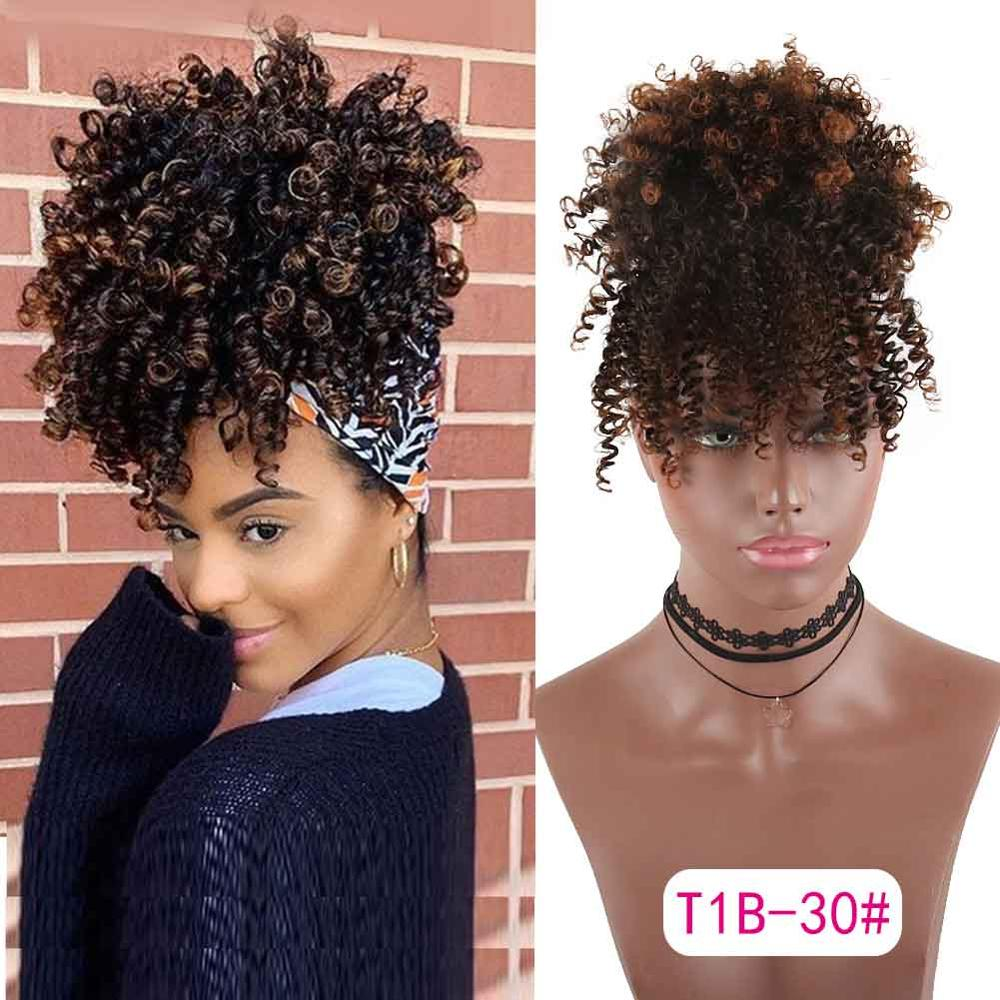 Ponytail High Hair Puff Clip In Hairpiece Afro Kinky Curly Synthetic Drawstring Ponytail With Bangs Hair Extensions