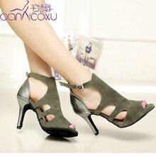 цена на Jazz Salsa Ballroom Latin Dance Shoes For Dancing Women Social Tango High Heels Open Toe Leather 6193 Footwear Boots