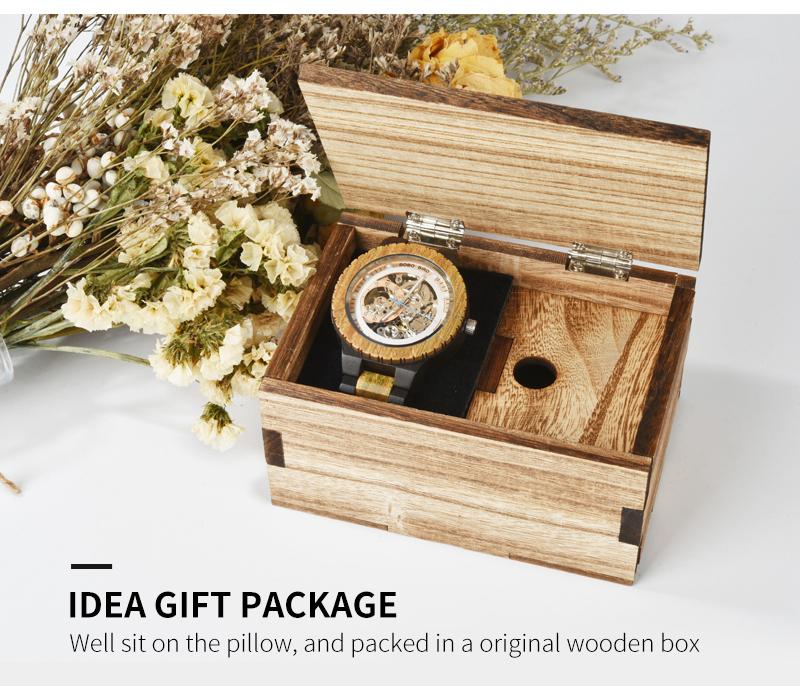 Reloj mecánico de madera caja de diseño Retro 12