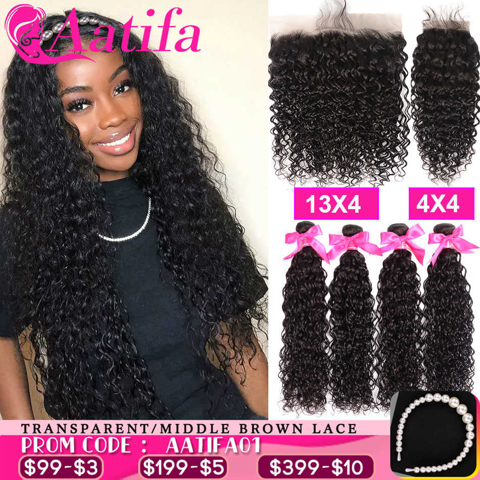 Transparent Lace Frontal With Bundles Brazilian Water Wave Bundles With Frontal Aatifa Hair 100% Human Virgin Hair With Closure