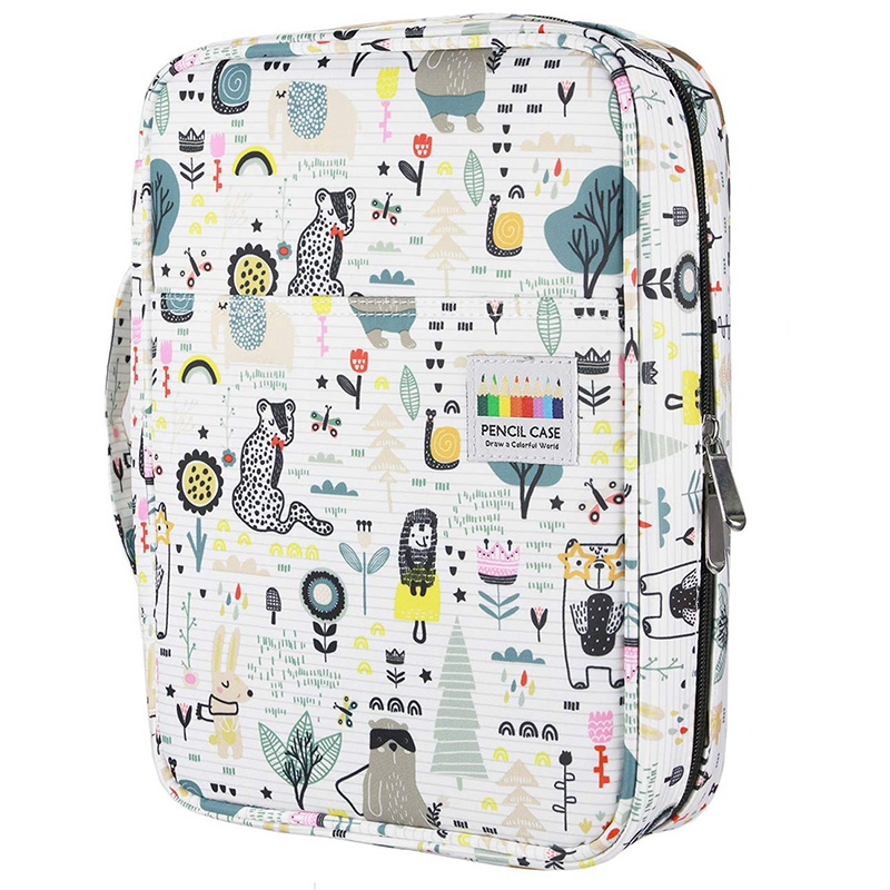 220 Slots Colored Pencil Case Oxford Fabric Pen Case With Compartments Pencil Holder For Watercolor Pencils