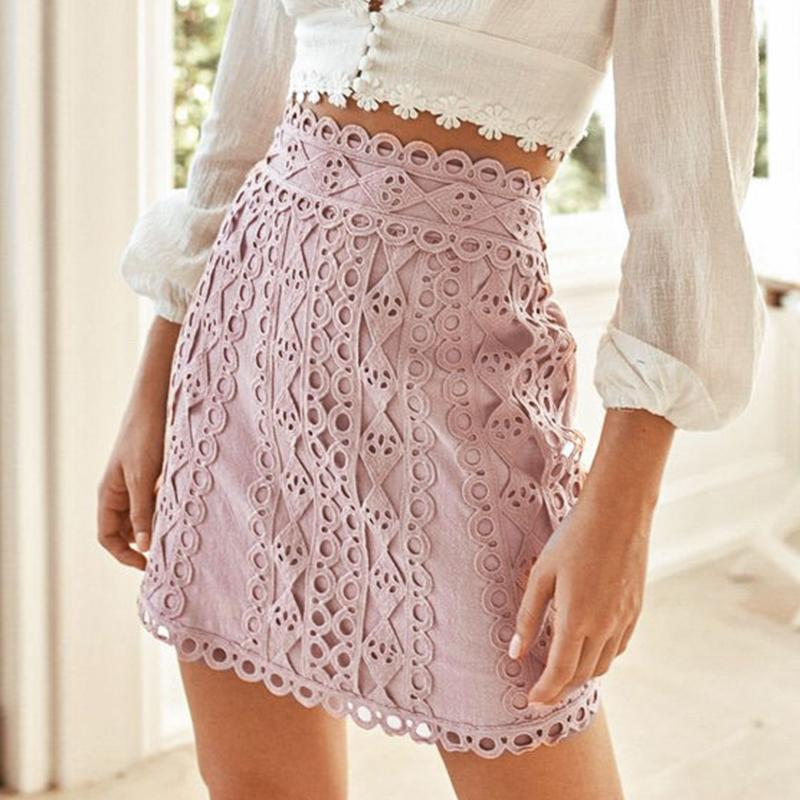 Misswim Casual A-line Geometric Skirts Women 2019 Autumn Winter Embroidery Skirts Female Sexy Cotton Pink Mini Skirt Bottom New
