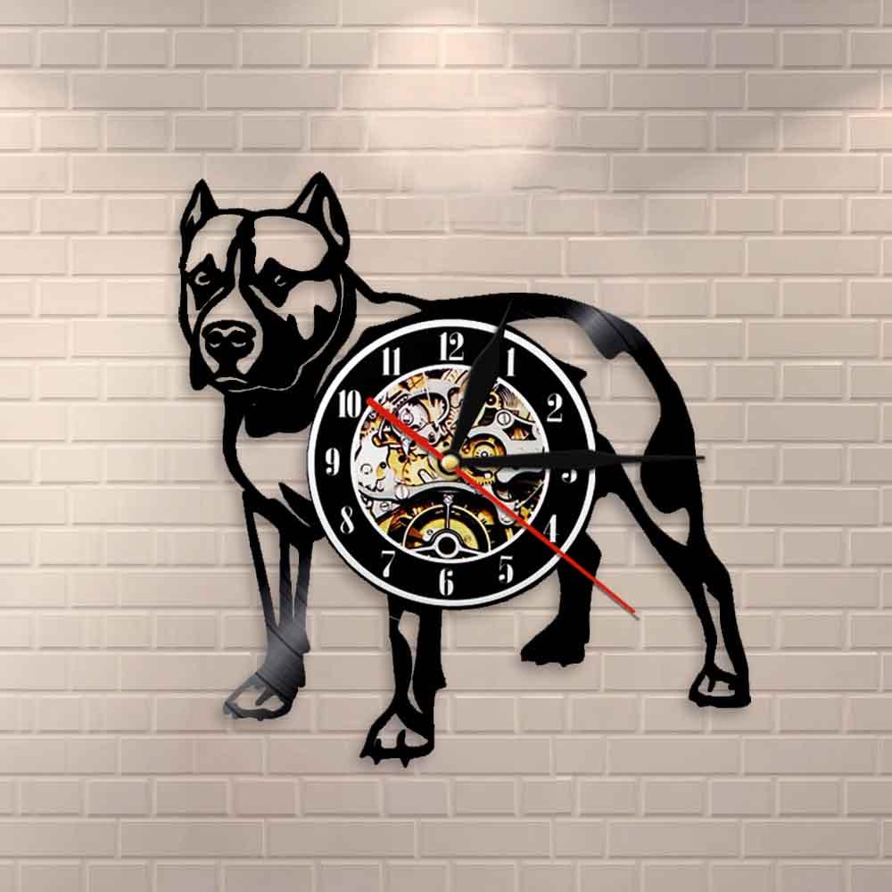 Pitbull Home Wall Decor Decorative Wall Clock Dog Breed Gifts Pitbull Mom Vinyl Record Wall Clock American Bully Mom Retro Clock
