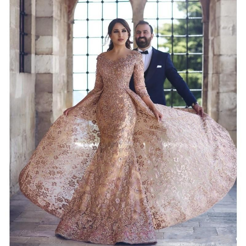 2020 Blush Pink Mermaid Prom Dresses Long Sleeves Lace Applique With Overskirt Dubai Arabic Formal Evening Dress Celebrity Wear