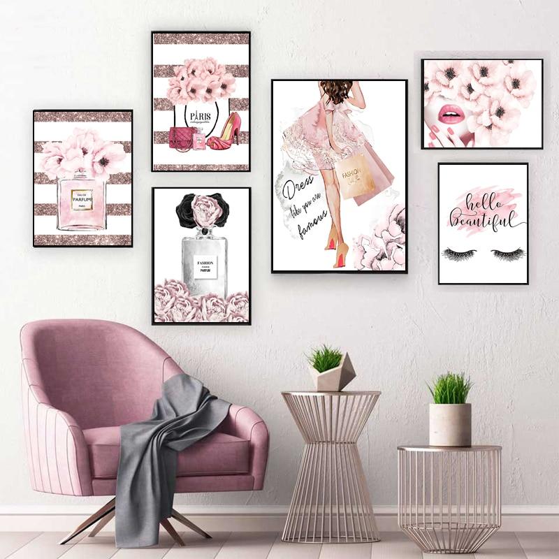 Модное розовое платье для девочек украшения комнаты плакат духи с ресницами, губами на высоком каблуке Печать на холсте, настенная живопись печать рисунка для салона красоты