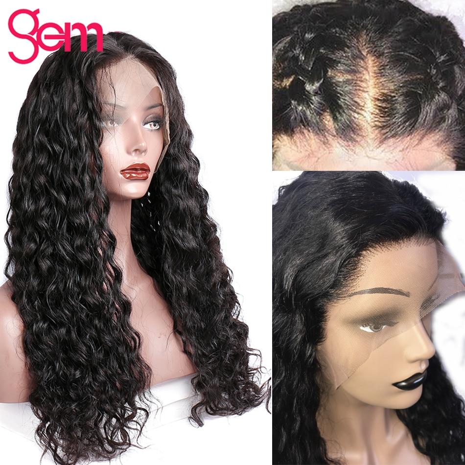 360 perruque frontale en dentelle brésilienne vague d'eau avant de - Cheveux humains (noir) - Photo 4