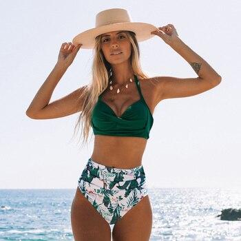 Sexy High Waist Bikini 2020 Halter Plus Size Swimwear Women Swimsuit Female Bikini Set Bodysuit Bathing Suit Summer Biquini XXL 4