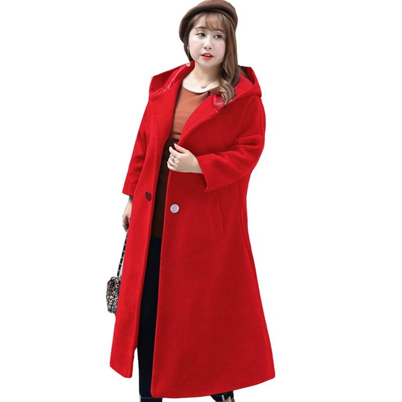 Extra Plus Size 8XL Wool Long Coat Women's New Fall Winter Medium Long Black Red Hooded Cardigan Woolen Coats Women's overcoat