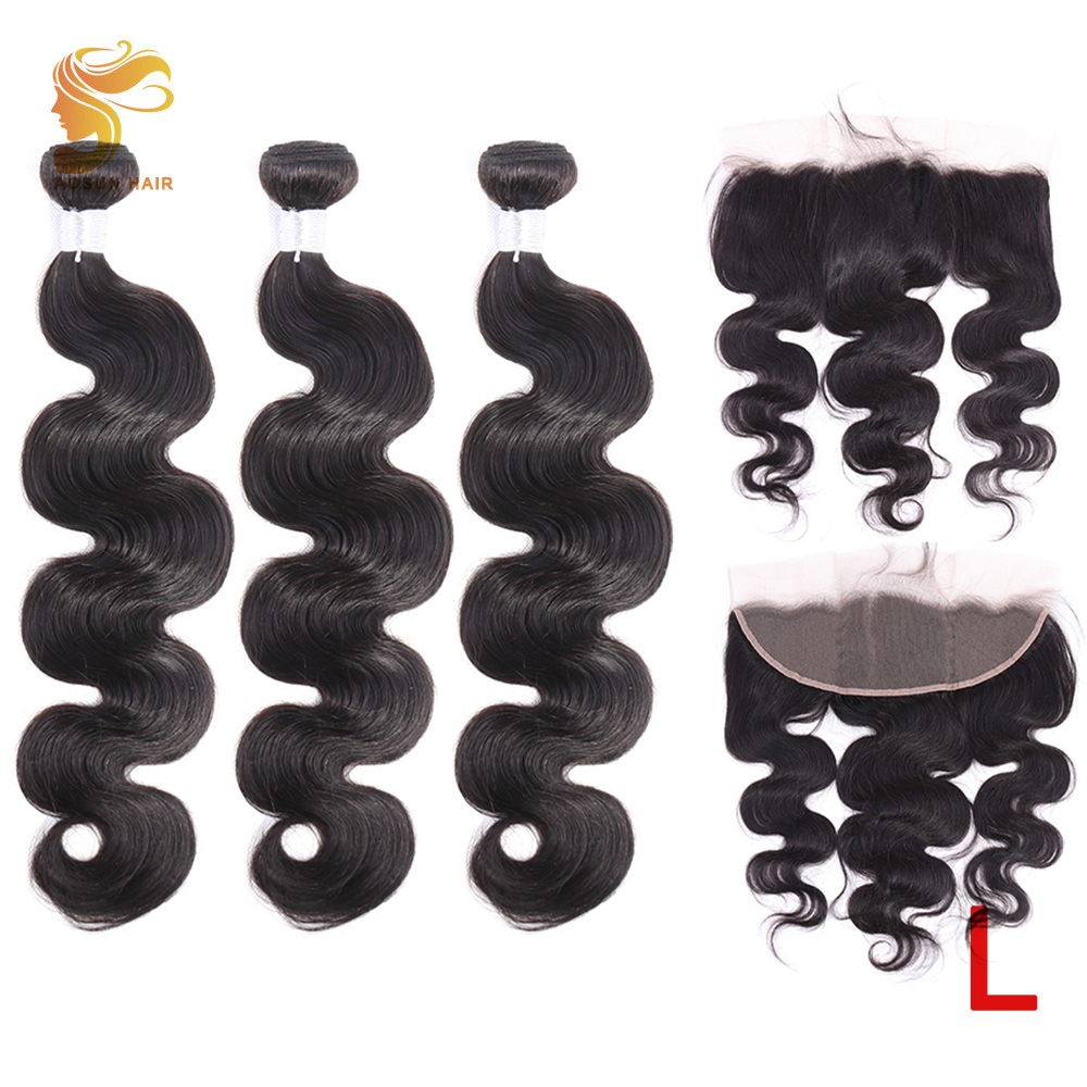 AOSUN HAIR Body Wave Bundles With 13*4 Lace Frontal Peruvian Remy Hair Weave Bundle With Frontal Human Hair Bundles With Frontal