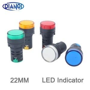 1pcs 12V 24V  220V 380V 22mm Panel Mount LED Power Indicator Pilot Signal Light Lamp