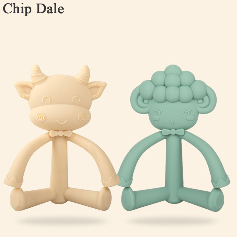 Chip Dale 1PC Animal Silicone Teether Food Grade Teething Necklace Pendant Cartoon Cow Sheep Baby Teether  Baby Shower Gifts