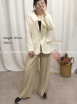 170-175cm Spring Summer Wide Leg Pants Women Elastic High Waist Pants Elegant Office Ladies Khaki Trousers Plus Length 2