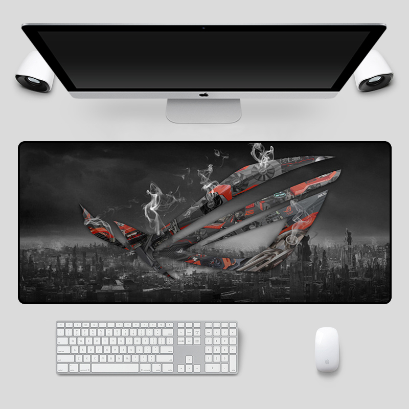 Image 3 - Fashion 90x40cm Large ASUS Gaming Mousepad  Republic Of Gamers Keyboard Pad  Locking Edge Rubber Laptop Notebook Desk MatMouse Pads   - AliExpress
