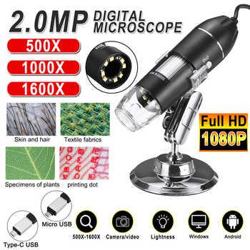 Einstellbare 1600X 2MP 1080P 8 LED Digital Mikroskop Typ-C/Micro USB Lupe Elektronische Stereo USB Endoskop für Telefon PC