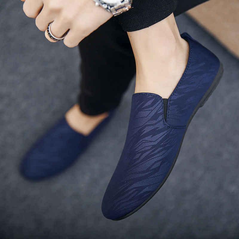 Männer Schuhe Herbst Casual Peking leinwand schuhe Männer Männlichen Faulenzer Turnschuhe Slip Auf Atmungs Driving Schuhe Herren Mokassin Homme 2019