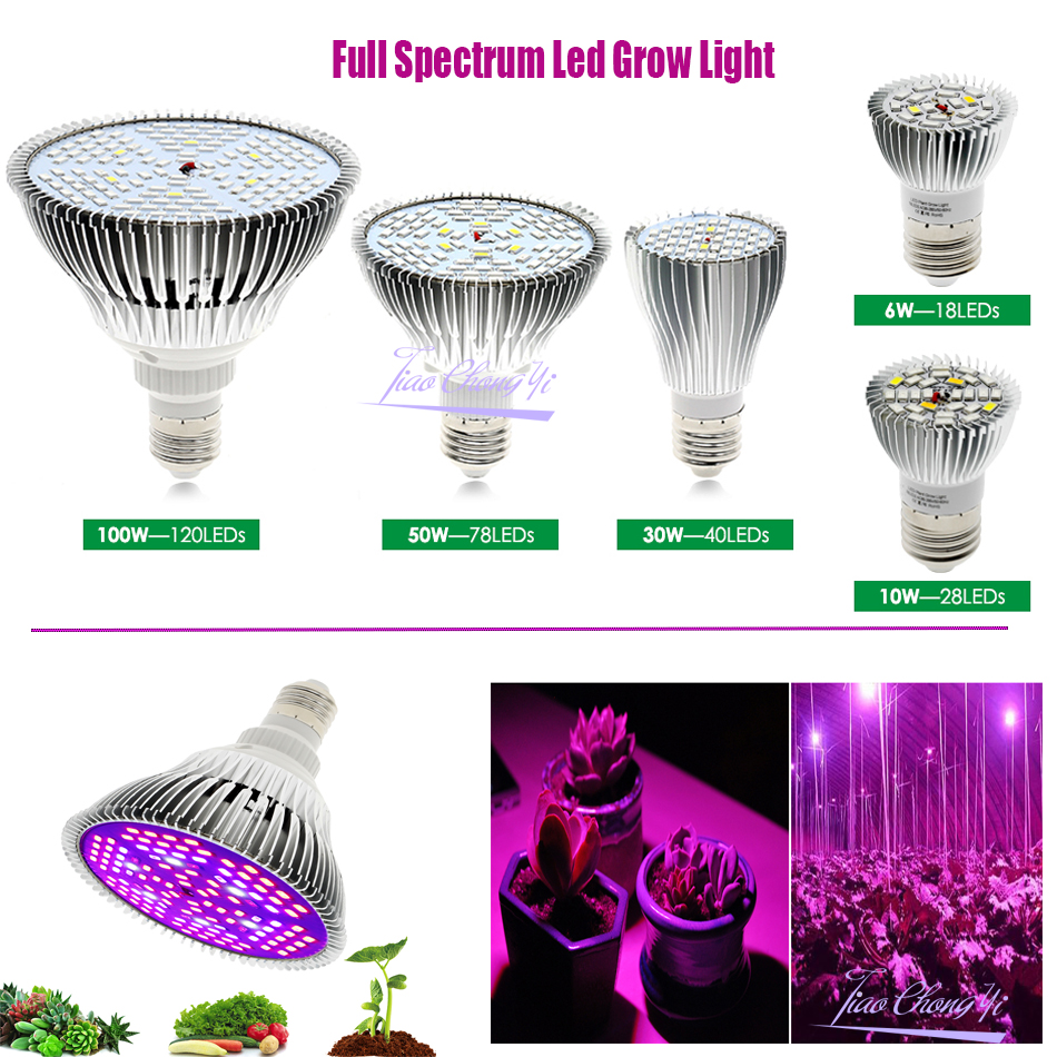 Full Spectrum Led Grow Light E27 6W 10W 30W 50W 100W Red Blue UV IR Led Growing Lamp For Hydroponics Flowers Plants Vegetables