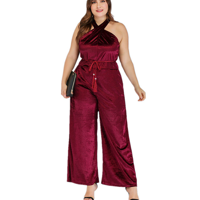 2020 spring summer plus size jumpsuit for women large sleeveless off shoulder slim casual long jumpsuits belt red 4XL 5XL 6XL 1