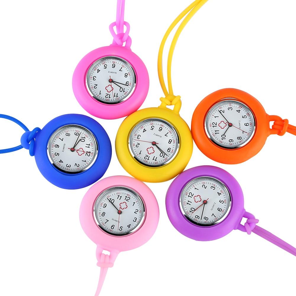 Fashion Silicone Nurse Watch Lanyard Fob Pocket Watches Arabic Numerals Dial Pendant Clock Ladies Women Doctor Reloj De Bolsillo