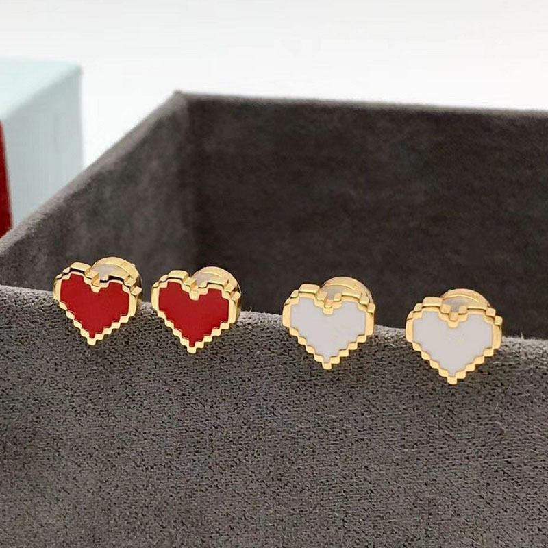 Girls Sterling Silver Pink//Red//White Candy Striped Heart Earring Studs