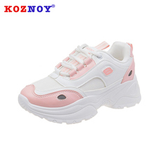 Koznoy Sneakers Women Korean Version Dropshipping Students Thick Bottom Leisure Fashion Breathable Muffin Shoes