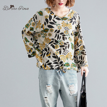 BelineRosa Vintage Floral Printing Autumn Tops Shirts Natural Material Cotton Linen Long Sleeve Tshirt Female BSDM0275