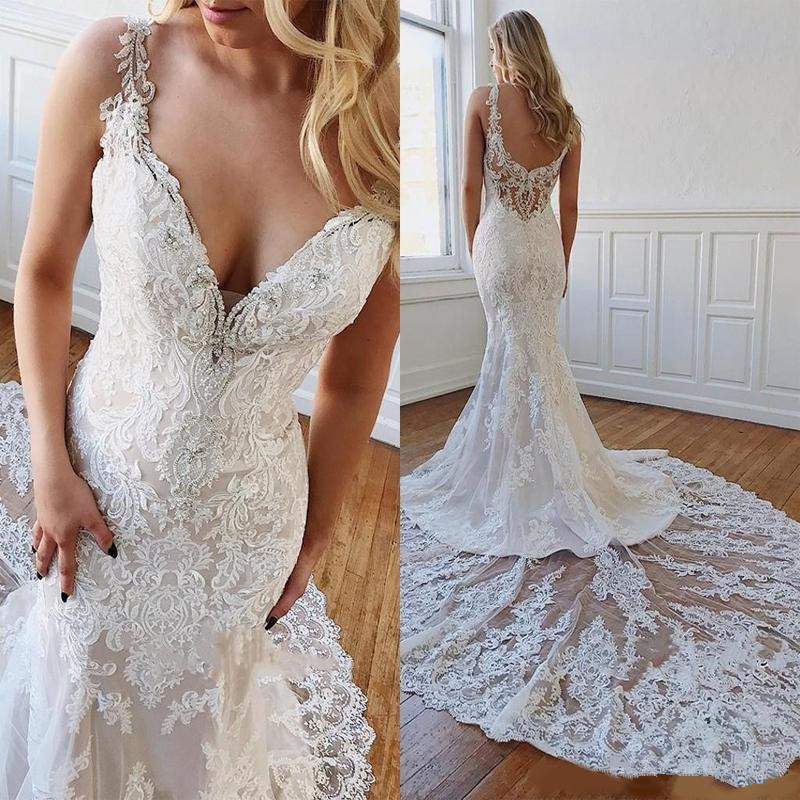 Gorgeous Lace Mermaid Wedding Dresses 2020 Sexy V-neck Applique Beaded Cathedral Train Trumpet Garden Beach Bride Wedding Gown