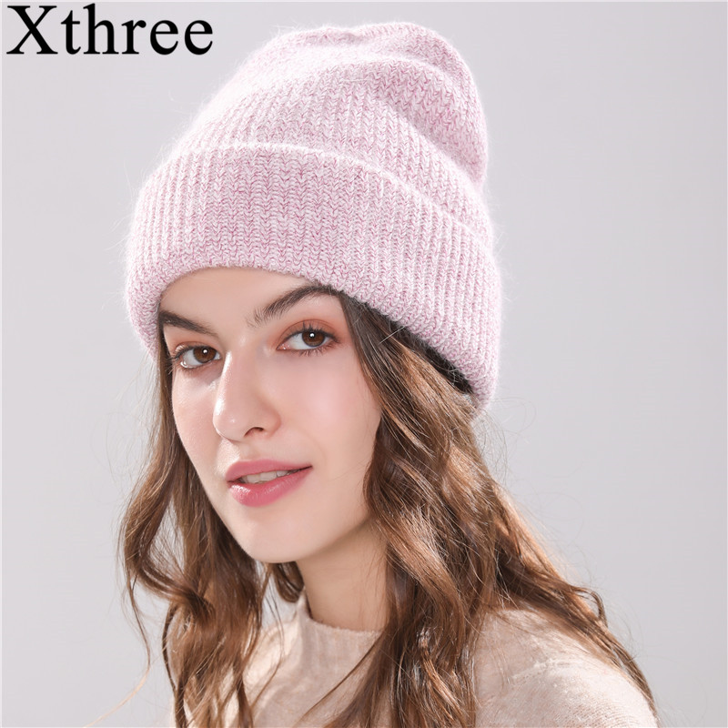 Xthree Rabbit fur Beanie Hat para As Mulheres Chapéu feito malha chapéu do Inverno para crianças Cap Gorros Skullies Quentes Gravity Falls Feminino cap