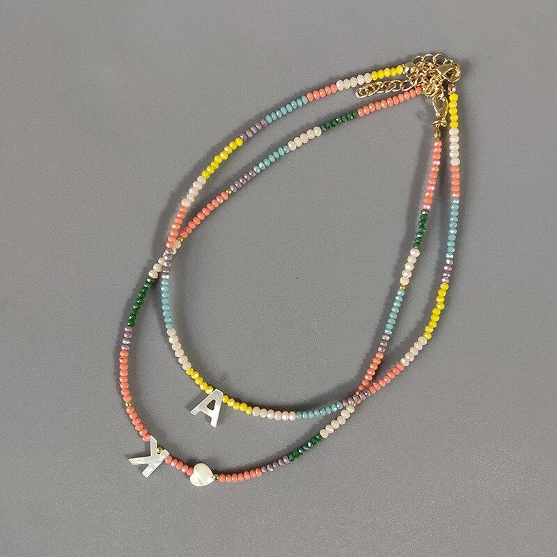 В богемном стиле цветные Хрустальные шарики ожерелье Мода Custom письмо ожерелье, персонализированные украшения для друзей 2020 Новый bijoux femme (у...